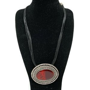 Chico's Black Necklace Silver Red Stone Pendent